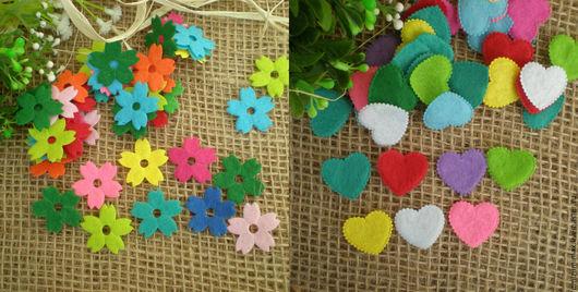 Другие виды рукоделия ручной работы. Ярмарка Мастеров - ручная работа. Купить Цветы и сердечки из фетра.. Handmade. Комбинированный, цветок