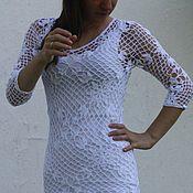 Одежда ручной работы. Ярмарка Мастеров - ручная работа Платье белое ажурное вязаное крючком летнее. Handmade.