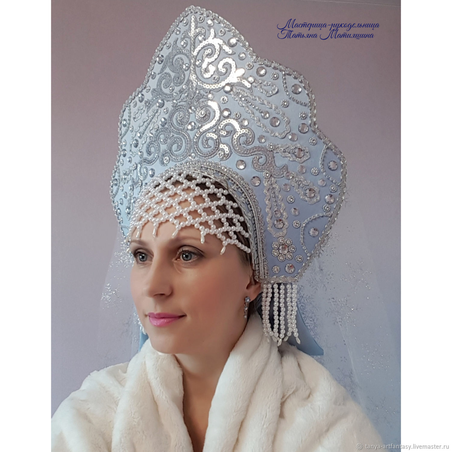 The headdress for the snow Maiden. Russian kokoshnik. The Headdress Princess, Kokoshnik, Vladivostok,  Фото №1