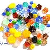 Материалы для творчества handmade. Livemaster - original item 20 g Beads Czech Mix 0040 Flowers glass beads. Handmade.