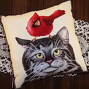 Для дома и интерьера ручной работы. Ярмарка Мастеров - ручная работа Кошка с попугайчиком. Handmade.