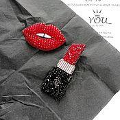 Украшения handmade. Livemaster - original item Brooch LIPSTICK red, gift makeup artist. Handmade.