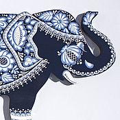 """Панно ручной работы. Ярмарка Мастеров - ручная работа """"Слоник Гжелька"""" коллекционный слон, кобальтовая гжель. Handmade."""