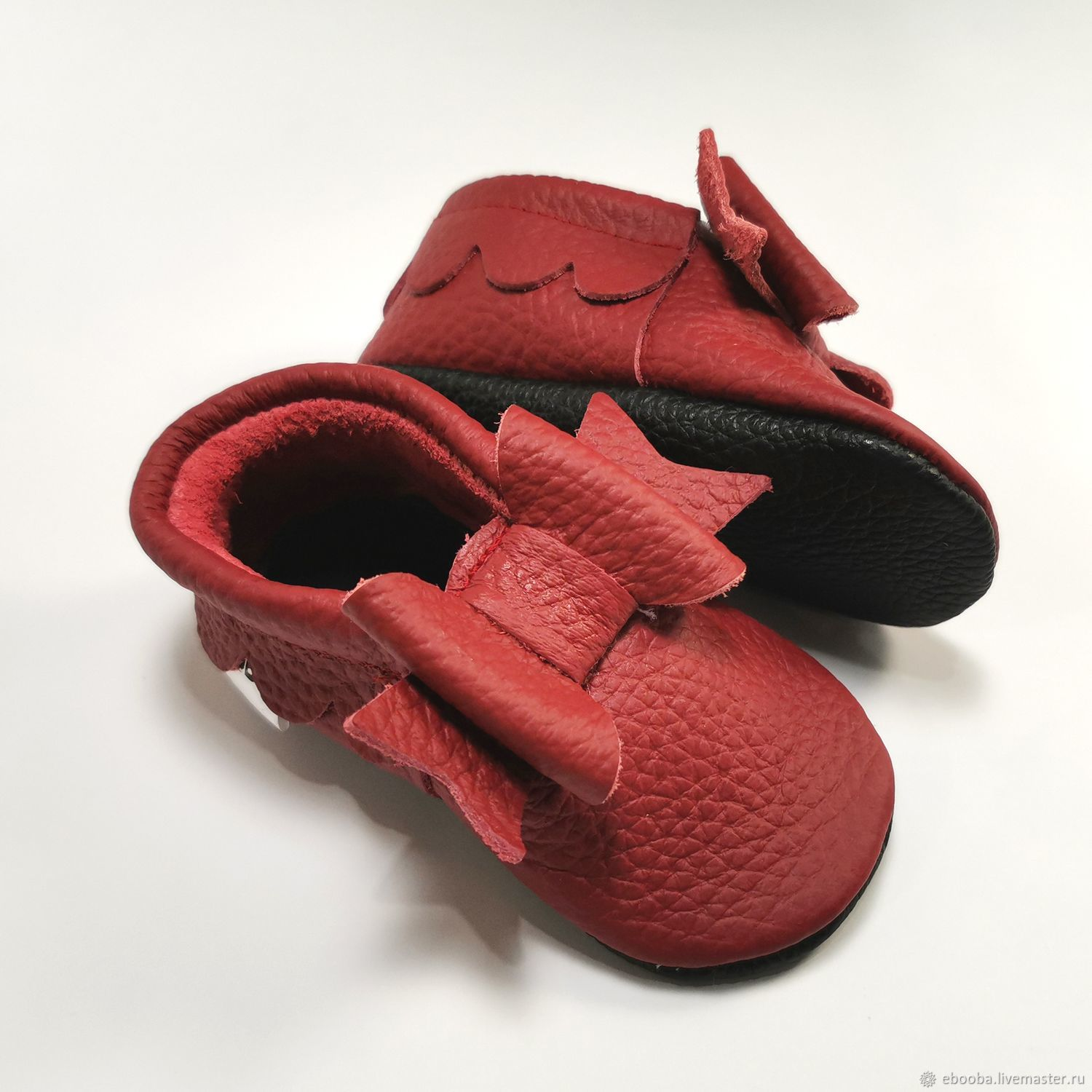 Red Baby Moccasins, Leather Baby Shoes, Red Moccs, Baby Leather Moccs, Footwear for childrens, Kharkiv,  Фото №1
