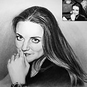 Картины и панно handmade. Livemaster - original item A portrait from a photo charcoal custom. Handmade.