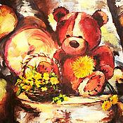 """Картины и панно ручной работы. Ярмарка Мастеров - ручная работа Картина маслом в детскую """"Мишка с одуванчиком  или портал в детство"""". Handmade."""