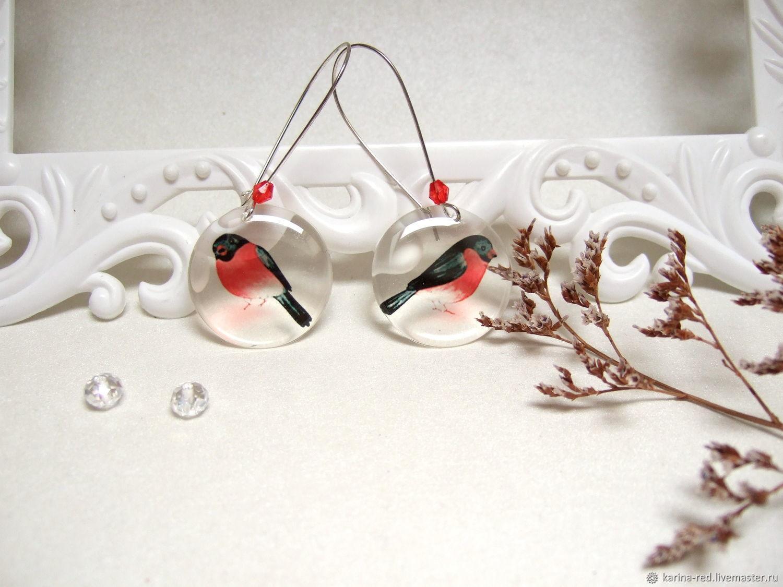 Transparent Earrings Birds Earrings Hearts Red White Black Forest, Earrings, Taganrog, Фото №1