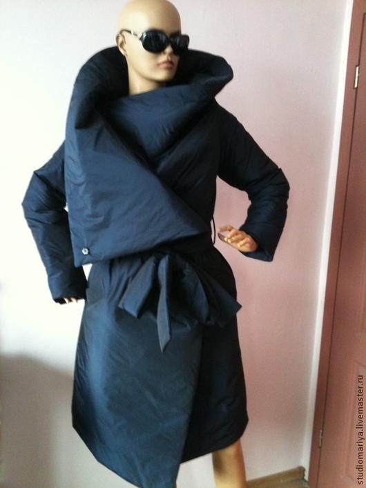 Верхняя одежда ручной работы. Ярмарка Мастеров - ручная работа. Купить Пальто зимное стеганое- темно синее. Handmade. Однотонный