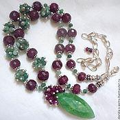 Necklace handmade. Livemaster - original item NECKLACE with PENDANT - EMERALDS, RUBIES, beads. Handmade.