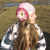 Аксессуары ручной работы. Ярмарка Мастеров - ручная работа Родохрозит - розовая шапочка для девочки девушки с пионом. Handmade.