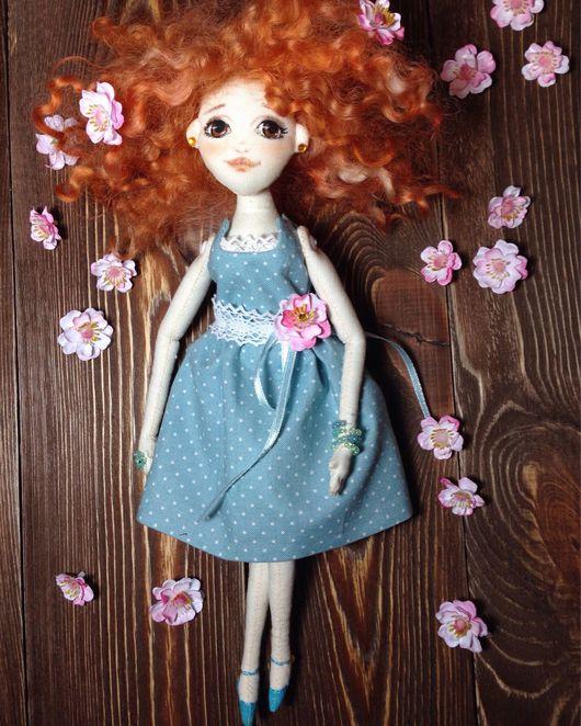 Коллекционные куклы ручной работы. Ярмарка Мастеров - ручная работа. Купить Текстильная кукла. Handmade. Голубой, кукла текстильная, фиксатив