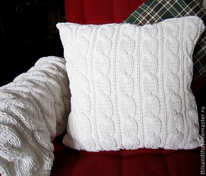 Вязание чехол для подушки спицами 939