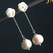 Украшения handmade. Livemaster - original item Two-in-one. Earrings-ear-stud with mother of pearl roses. Handmade.