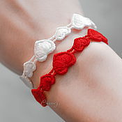 Украшения handmade. Livemaster - original item a set of bracelets embroidered angel Heart white red. Handmade.