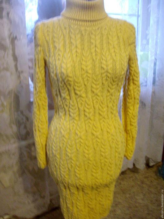 """Платья ручной работы. Ярмарка Мастеров - ручная работа. Купить Платье  """" брызги Шампанского"""". Handmade. Желтый, платье вязаное"""