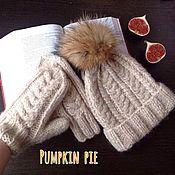 Аксессуары handmade. Livemaster - original item Cap with fur pompon and mittens with braids