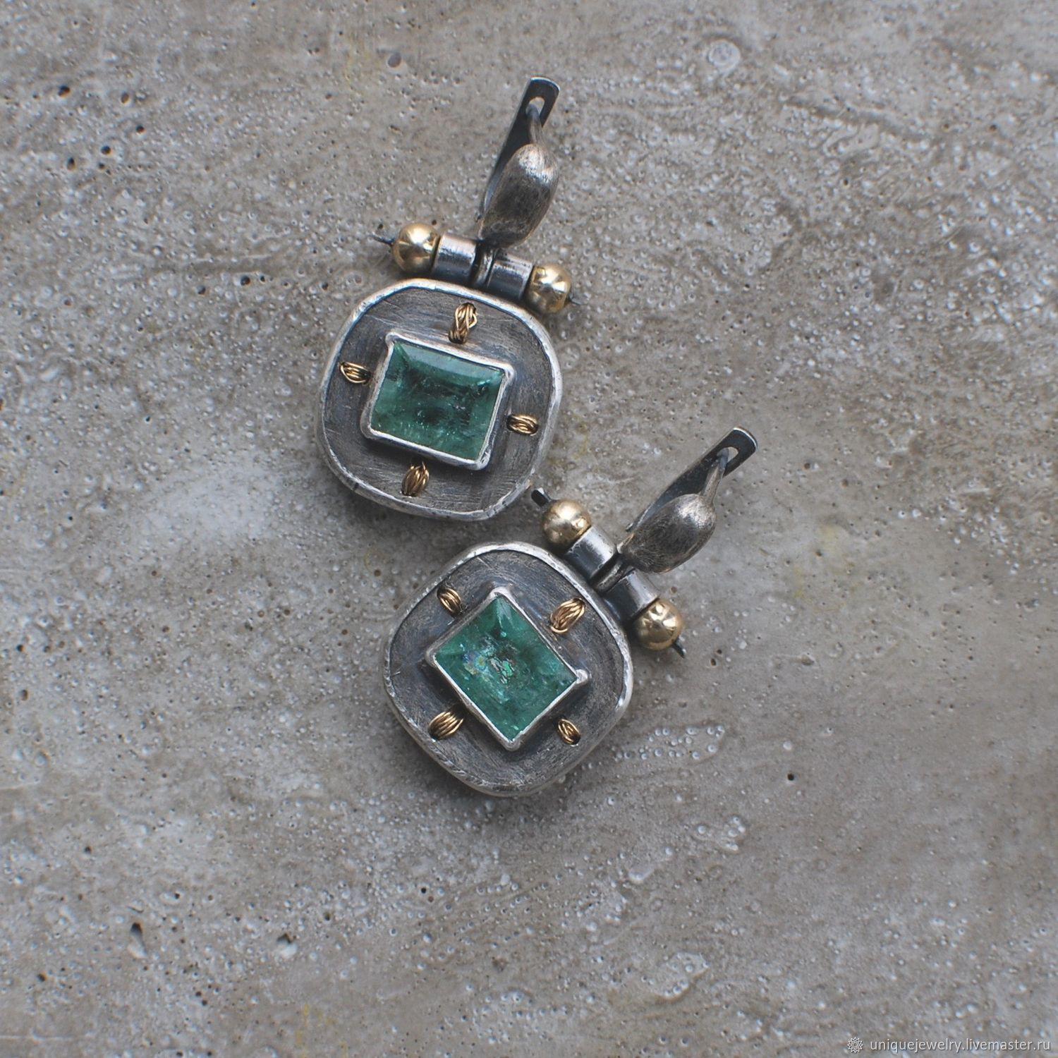 Earrings with emeralds, silver and goldfield, Earrings, Moscow,  Фото №1