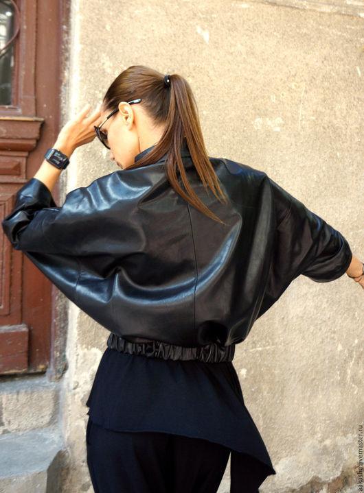 куртка кожаная стильная куртка из кожи женская куртка короткая на молнии стильная одежда дизайнерская куртка натуральная кожа