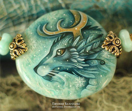 """Кулоны, подвески ручной работы. Ярмарка Мастеров - ручная работа. Купить Кулон с росписью """"Снежный дракон"""" (амазонит, лаковая миниатюра). Handmade."""