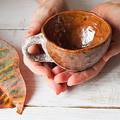 """Посуда ручной работы. Ярмарка Мастеров - ручная работа чашка, керамика раку """"за летом-осень"""". Handmade."""
