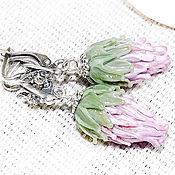 Украшения handmade. Livemaster - original item Thistle flowers - earrings lampwork. Handmade.