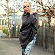 "Одежда handmade. Livemaster - original item Knitted poncho - tunic ""Urban chic"" cotton. Handmade."