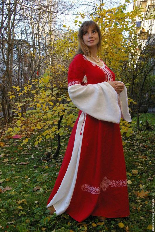 """Платья ручной работы. Ярмарка Мастеров - ручная работа. Купить платье""""Дана""""(красное). Handmade. Ярко-красный, русский костюм, лён 100%"""