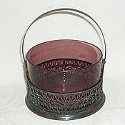 Винтаж handmade. Livemaster - original item VASE CANDY dish WITH HANDLE Colored MANGANESE glass. MELCHIOR FILIGREE. Handmade.