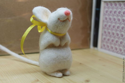 Игрушки животные, ручной работы. Ярмарка Мастеров - ручная работа. Купить мышь белая. Handmade. Мышка, шерсть 100%