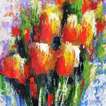 Картины и панно ручной работы. Ярмарка Мастеров - ручная работа Абстрактная картина Красные цветы Тюльпаны. Handmade.