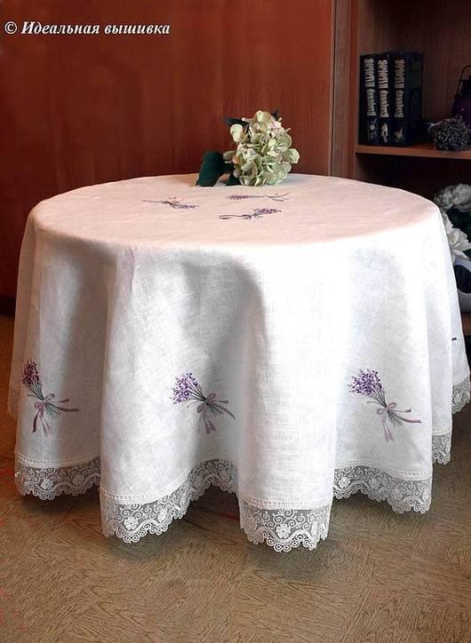 """Текстиль, ковры ручной работы. Ярмарка Мастеров - ручная работа. Купить Круглая льняная скатерть """"Лавандовый ветер"""". Handmade."""