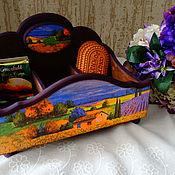 """Для дома и интерьера ручной работы. Ярмарка Мастеров - ручная работа Чайный короб на ножках """"Лавандовые поля"""". Handmade."""