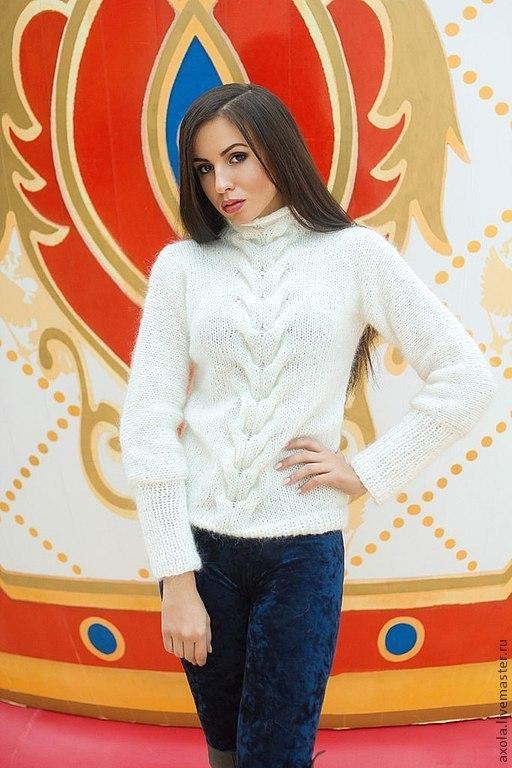 Белый вязаный пуловер доставка