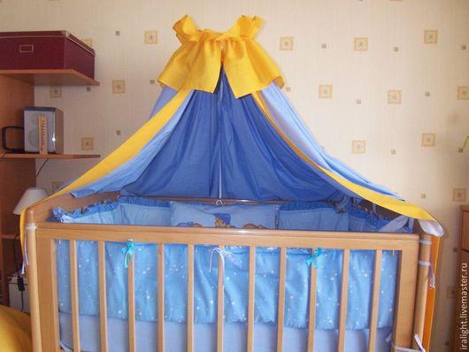 Текстиль, ковры ручной работы. Ярмарка Мастеров - ручная работа. Купить Балдахин на кроватку. Handmade. Голубой, шторы в детскую