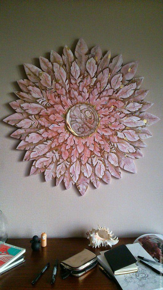 """Этно ручной работы. Ярмарка Мастеров - ручная работа. Купить Зеркальное панно """"розовый фламинго"""". Handmade. Кремовый, для дома и интерьера"""