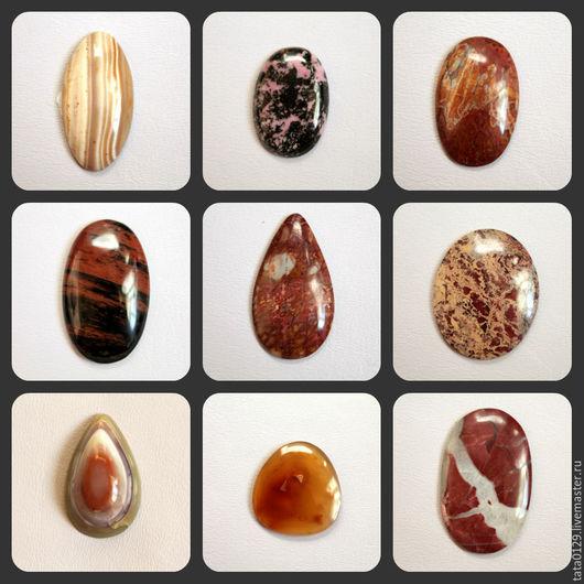 слева на право: кремень ,родонит-40*27мм , 100руб,   яшма 30*23мм-120 руб,обсидиан(под фото),яшма капля-45*25мм  120руб,яшма  45*35мм 160руб.Остальные камни размеры под фото.