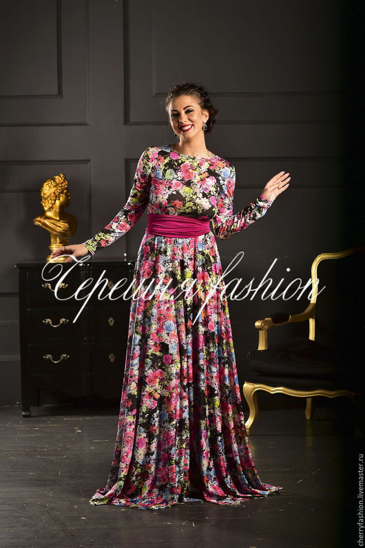 Платья ручной работы. Ярмарка Мастеров - ручная работа. Купить Платье цветочное. Handmade. Разноцветный, цветочный принт, платье в пол