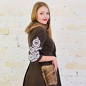 Одежда ручной работы. Ярмарка Мастеров - ручная работа Платье шерстяное коричневое зимнее с вышивкой. Handmade.