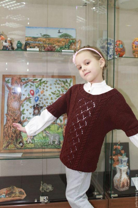 """Одежда для девочек, ручной работы. Ярмарка Мастеров - ручная работа. Купить Детский пуловер """"Вероника"""". Handmade. Бордовый, меринос"""
