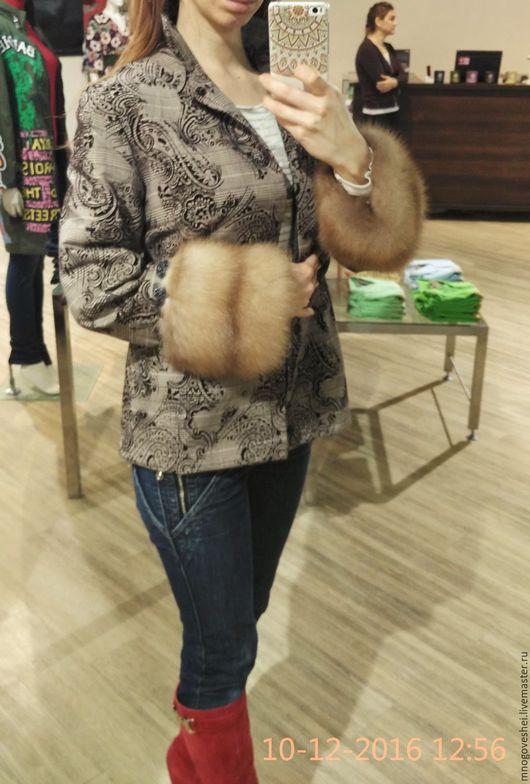 Верхняя одежда ручной работы. Ярмарка Мастеров - ручная работа. Купить Весенняя куртка с цельными шкурами куницы. Handmade. Коричневый