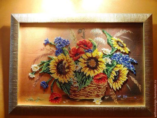 """Картины цветов ручной работы. Ярмарка Мастеров - ручная работа. Купить Картина """"Букет полевых цветов"""" (вышивка бисером). Handmade."""