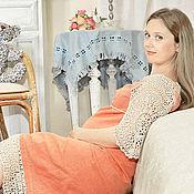 """Dresses handmade. Livemaster - original item Льняное платье для будущей мамы  """"Коралловое"""". Handmade."""