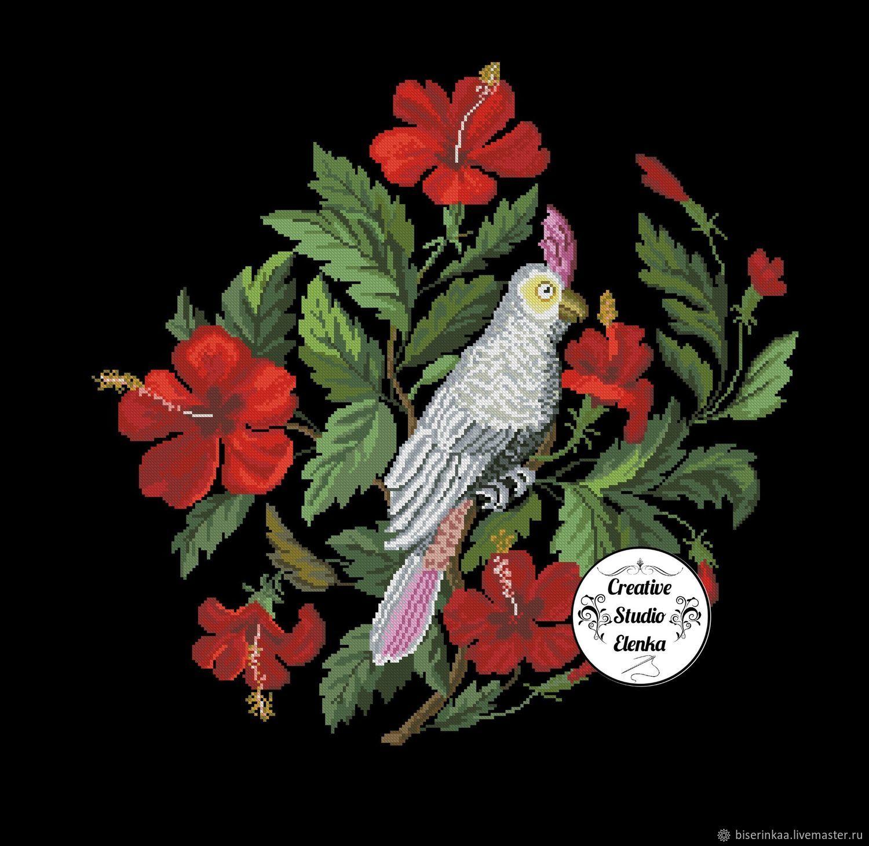 """Ретро схема вышивки """"Белый попугай"""", Схемы для вышивки, Таганрог,  Фото №1"""