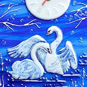 """Для дома и интерьера ручной работы. Ярмарка Мастеров - ручная работа Настенные часы """"Любовь и верность"""", фьюзинг. Handmade."""