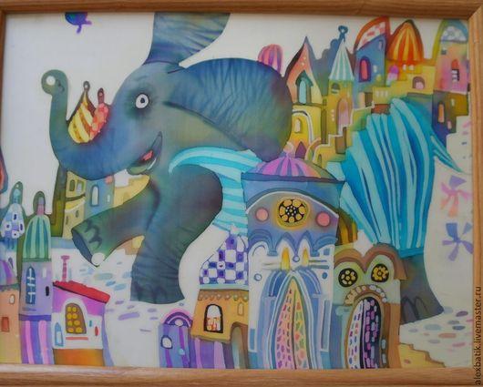 """Животные ручной работы. Ярмарка Мастеров - ручная работа. Купить Батик панно """"Музыкальный слон"""". Handmade. Разноцветный, батик купить"""