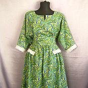 Одежда ручной работы. Ярмарка Мастеров - ручная работа Платье из хлопка зеленое. Handmade.