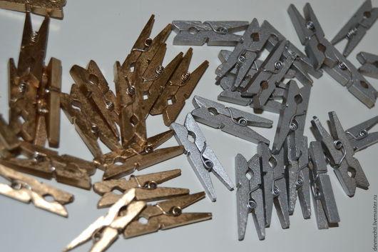 Другие виды рукоделия ручной работы. Ярмарка Мастеров - ручная работа. Купить Мини -прищепки (золото,серебро). Handmade. Прищепки