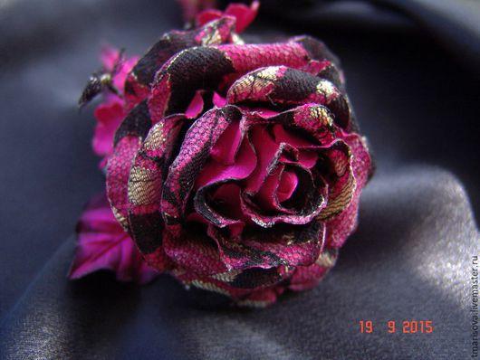 """Броши ручной работы. Ярмарка Мастеров - ручная работа. Купить Брошь """"Роза Готика"""". Handmade. Фуксия, малиновый, на шарф, черный"""
