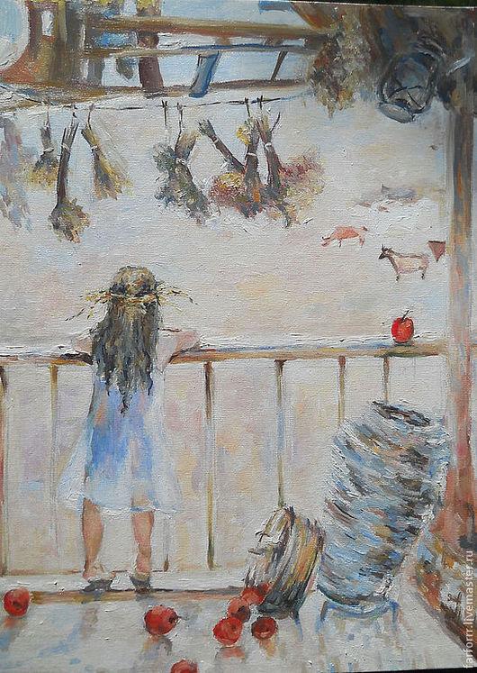 Маленькая девочка в белом платье вышла на веранду старого дома. Картина `Девочка в венке` (копия) написана масляными красками на холсте. Солнечная живопись от Соболевой Надежда. Картина из серии `Мои милый малыши...`