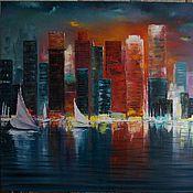 """Картины и панно ручной работы. Ярмарка Мастеров - ручная работа Городской пейзаж """"ночной город"""". Handmade."""